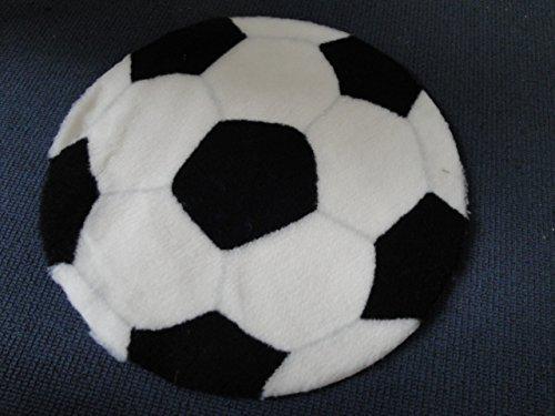 Fußball Bodenmatte Teppich 70 cm Durchmesser Schwarz / Weiß