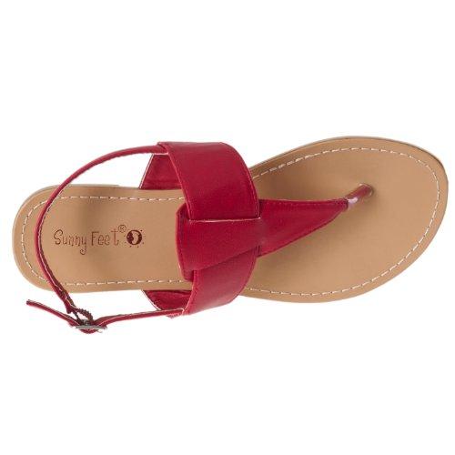 Bamboo Womens Sequoia T-strap Sandals Red TfAHNUNb