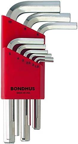 sizes 1.5-10mm Bondhus 16599 Set of 9 Balldriver Stubby L-wrenches