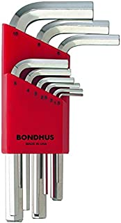 product image for Bondhus 16299 Set of 9 Hex L-wrenches w/BriteGuard,Short,sizes 1.5-10mm