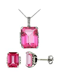 10K White Gold Natural Octagon Pink Topaz Earrings & Pendant Set Diamond Accents