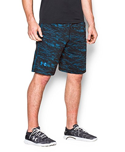 "Under Armour Men's Raid Printed 10"" Shorts, Black/Electric Blue, X-Large"