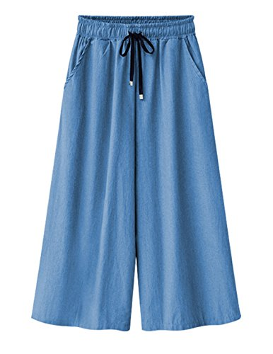 Ainovile Women's Relaxed Fit Wide-Legged Pants Palazzo Pants X-Large Light Blue by Ainovile