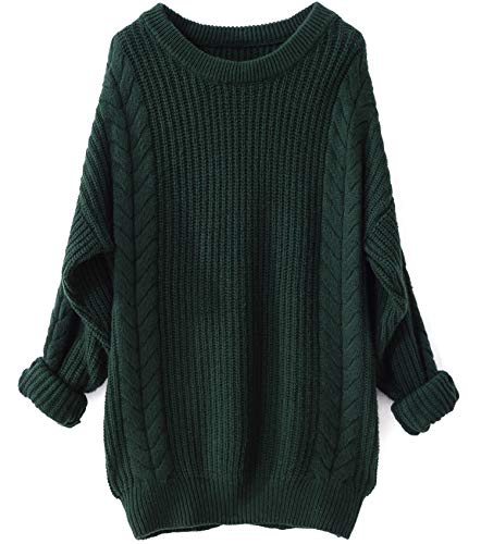 Liny Xin Women's Cashmere Oversized Loose Knitted Crew Neck Long Sleeve Winter Warm Wool Pullover Long Sweater Dresses Tops (Green)