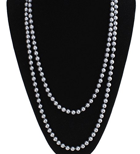 ART DECO Faux Pearls Flapper Beads Cluster Long Pearl Necklace Great Gatsby (59'', grey) - Faux Strand Necklace