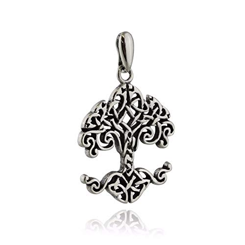 925 Silver Cushion Bracelet - Celtic Tree of Life Pendant - 925 Sterling Silver - Knot Roots Irish Family - Jewelry Accessories Key Chain Bracelets Crafting Bracelet Necklace Pendants