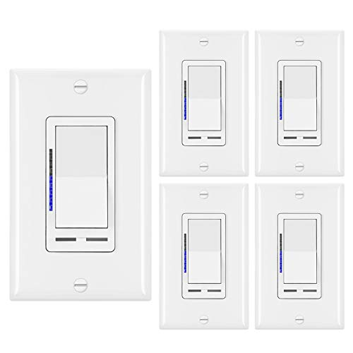 [5 Pack] BESTTEN Digital Dimmer Switch with LED Indicator, Horizontal Dimming Slider Bar, Single Pole or 3-Way, for Dimmable LED Lights, CFL, Incandescent, Halogen Bulbs, UL Listed, White