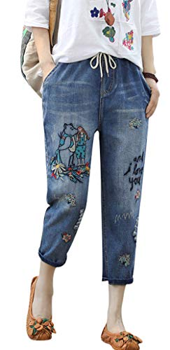 (Duberess Women's Denim Jeans Trousers 100% Cotton Loose Pants with Embroidery (M-L) (L, Cropped Style 4))