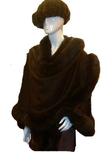Cashmere Pashmina Group: Cashmere Cape with genuine Fox Fur Trim all around - Coffee