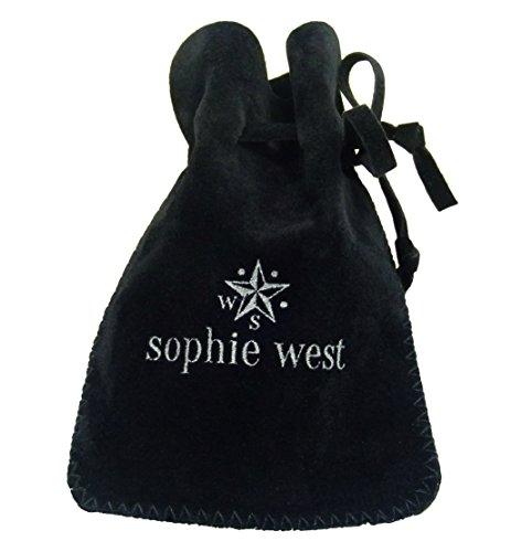 Sophie West - Boucles D'Oreilles - Boucles D'Oreilles Brodées Indigo Ink Avec Cristaux Swarovski - 3 Gouttes - Fils D'Oreilles En Argent 925