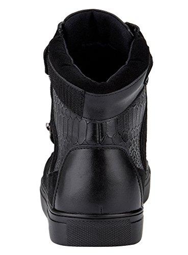 oodji Ultra Hombre Botas Altas con cierre por contacto y Acabado Decorativo Negro (2900N)