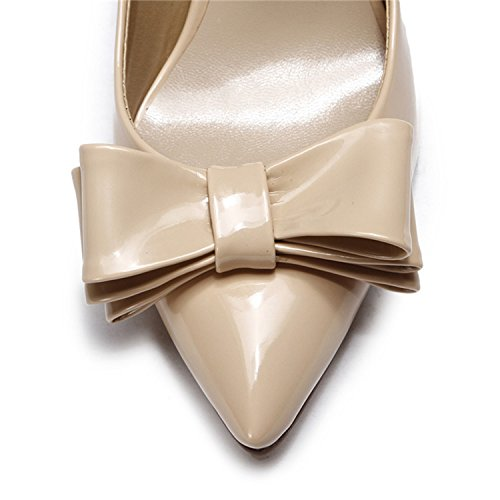 Kevin Fashion kf151005 Ladies Lovely Bowknot Zapatos de bombas de charol primavera vestido color carne