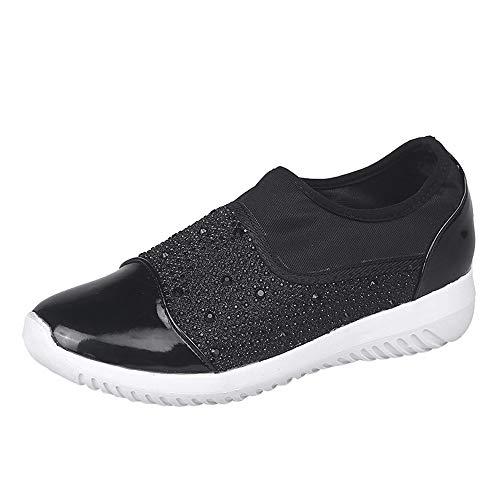 Stoff Rutschfest Sneaker Bequeme Sportschuhe Turnschuhe Sohlen Flach Lässige Sonnena Schwarz 36 Stretch Mode Shoes Damen Schuhe 44 Laufschuhe Outdoor wxOzA