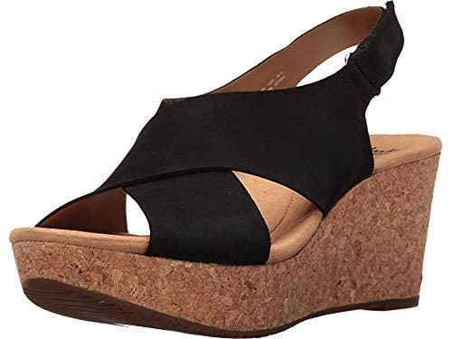 CLARKS Women's Annadel Eirwyn Wedge Sandal, Black Nubuck, 8 M US by CLARKS