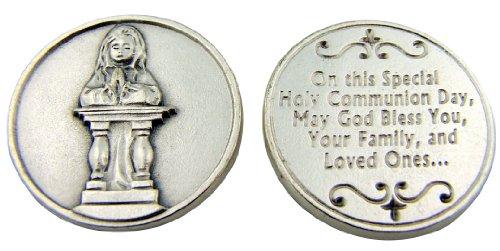 Kneeling Girl (Catholic Gift First Holy Communion Kneeling Praying Girl Pocket Charm Keepsake Token)