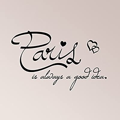 "37""x24"" Paris Is Always A Good Idea Hearts Travel France Wall Decal Sticker Art Mural Home Decor Quote"