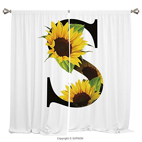 (Rod Pocket Curtain Panel Thermal Insulated Blackout Curtains for Bedroom Living Room Dorm Kitchen Cafe/2 Curtain Panels/84 x 84 Inch/Letter S,Letter S with Flora Elements Sunflowers on Dark Colored)