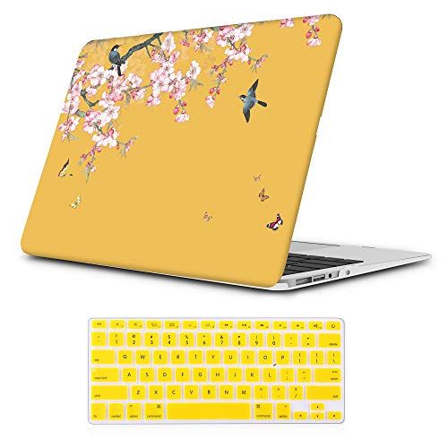 iLeadon MacBook Air 11 inch Protective Hard Case Soft Touch Ultra Thin Shell Cover+Keyboard Cover for MacBook Air 11 inch Model A1370/A1465 (MacBook Air 11 Inch, Chinese Flower & Birds) (Macbook Air 11 Inch Case)