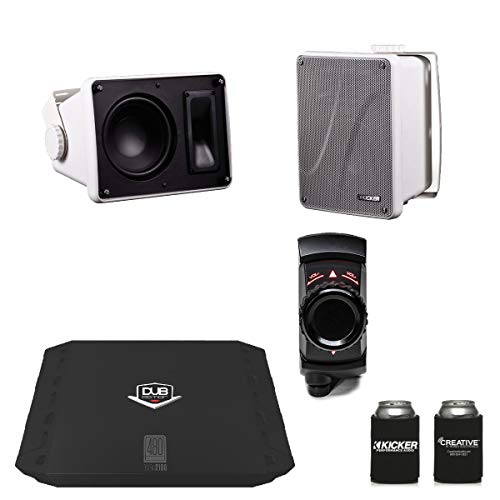 Kicker KB6000 White Outdoor Speakers with Dub 480 Watt Amplifier & MB Quart N2-WBT Bluetooth Receiver/Controller