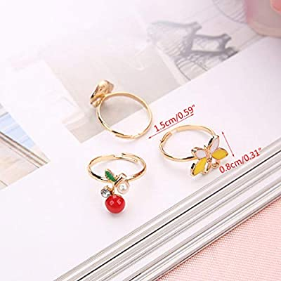 5pcs Fancy Adjustable Cartoon Rings Party Favors Kids Girls Action Figures Toy, Random Style: Toys & Games