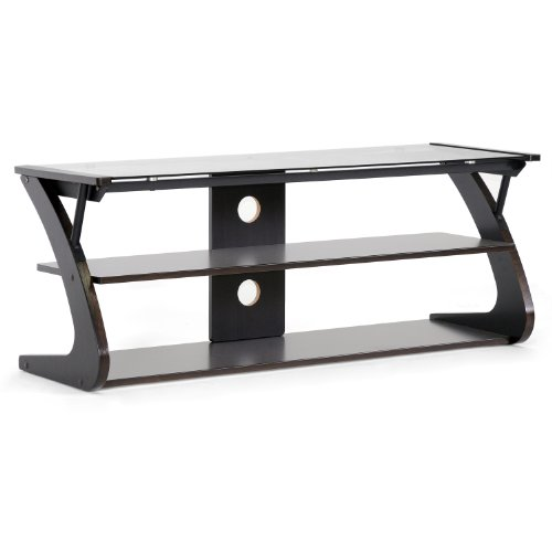 Baxton Studio Sculpten Modern TV Stand with Glass Shelves, Dark Brown/Black - Glass Mdf Tv Stand