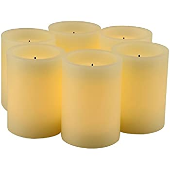 """Set of 6 Real Wax Flameless LED Candles with 10-Key Remote Control and Timer Features LED Candle size Diameter 3"""" x Height 4"""""""
