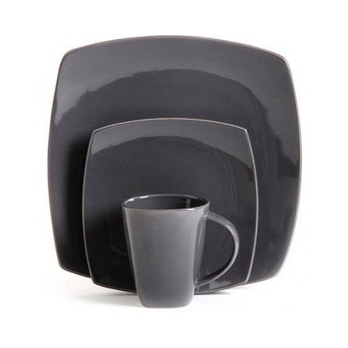 Square Dinnerware Service for 8, Plates Bowls Mugs, 32-Piece Set, Modern Gray by Gibson Home (Image #3)