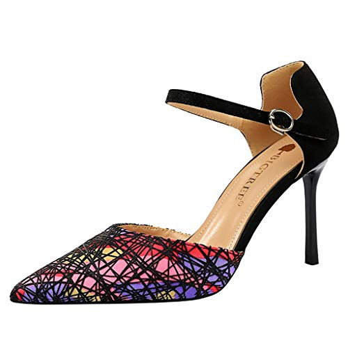 (Cenglings Women's Sexy Pointed Toe Stiletto High Heel Pumps Striped Print Shallow Mouth Ankle Strap Sandals Party Shoes Red)