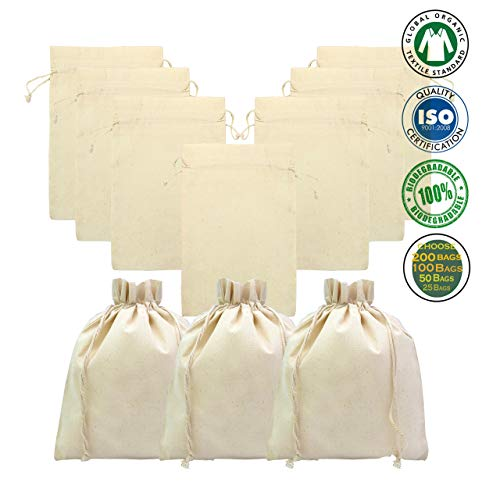 100% Organic Cotton, Biodegradable and Reusable Premium Quality Muslin Drawstring Bags, 1 Inch Down (Pack of 200-7