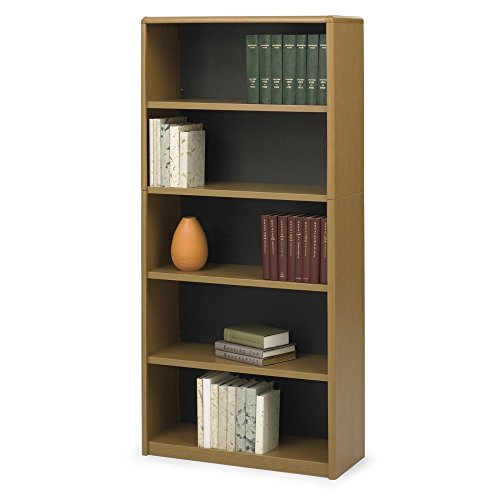 Safco Value Mate Steel Bookcases with Quick Lock – Oak Finish
