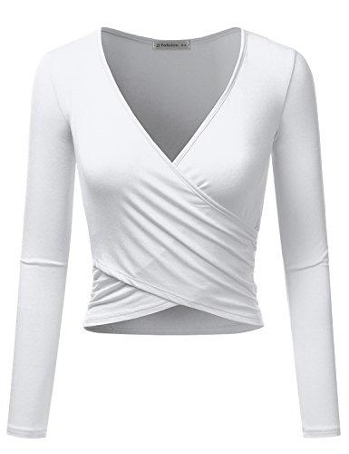 JJ Perfection Women's Long Sleeve Deep V Neck Unique Cross Wrap Crop Top White M