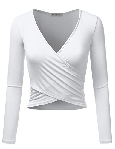 Long Sleeve T-shirt Wrap (JJ Perfection Women's Long Sleeve Deep V Neck Unique Cross Wrap Crop Top White 3XL)