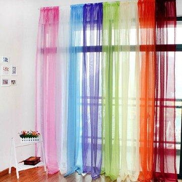 Translucent Sheer Tulle Voile Organdy Curtain Drape Wedding Decor For Door Window Vestibule Room^.