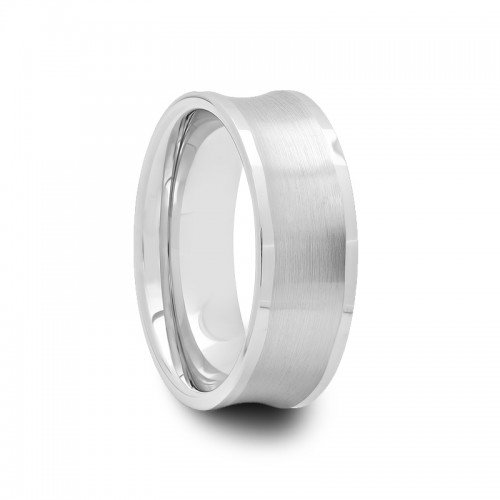 8 mm Mens Tungsten Carbide Wedding Bands Brushed Concave Center with Polished Flat Edges