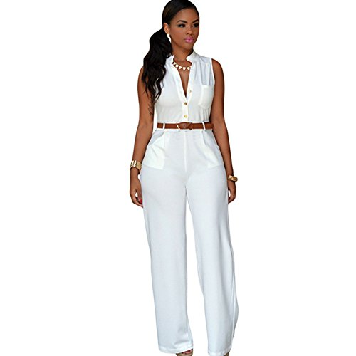 Elegant Fashion Jumpsuits Ladies Loose Slim Casual Party Overalls Long Pants Women Sleeveless Night Club Rompers With Belt (XL) Size