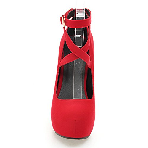 Plateforme Escarpins Suede Femmes Bride Rouge Aiguilles avec Cheville Talons Classique UH Bout et à Rond Elegantes Haut wd8E1q5