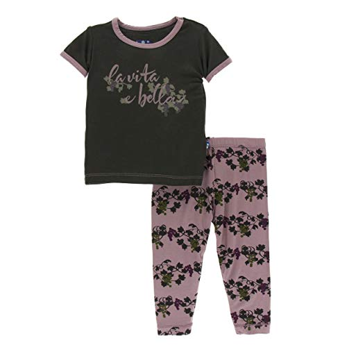 Kickee Pants Little Girls Print Short Sleeve Pajama Set - Raisin Grape Vines, 18-24 Months]()