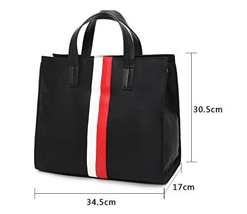 Bolso femenino, bolso simple, bolso coreano de los pares, bolso de hombro de la capacidad grande, bolso grande, bolso de la momia ( Color : Black+red ) Black+red