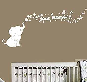 Amazoncom Elephant Bubbles Vinyl Wall Decal With Your - Elephant wall decalsamazoncom elephant bubbles wall decal nursery decor baby