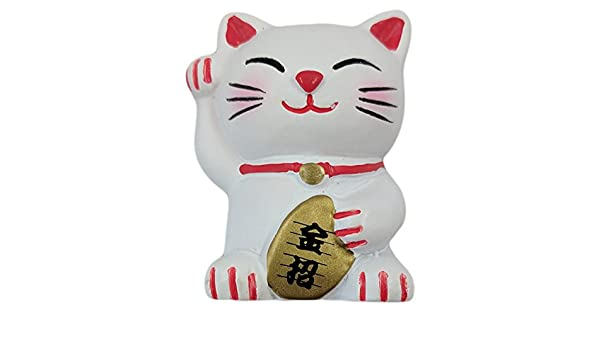 Amazon.com: Japanese Quality White Lucky Cat Refrigerator Magnet: Kitchen & Dining