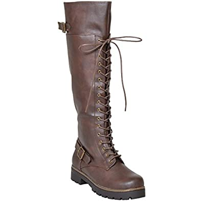 Amazon.com | Womens Knee High Boots Over The Knee Lace Up Combat ...