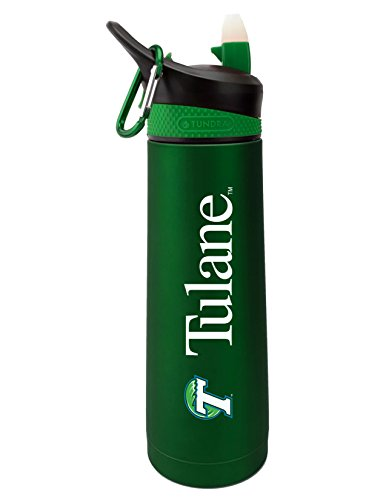 Tulane University Dual Walled Stainless Steel Sports Bottle, Design 1 - Green