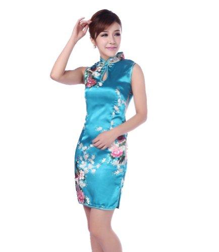 JTC Femme Cheongsam Qipao Robe Courte Chinois Motif de Paon et Fleur en Soie-bleu