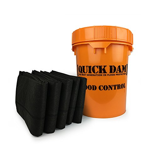 Quick Dam Grab & Go Flood Kit includes 5- 10ft Flood Barriers in Bucket by Quick Dam
