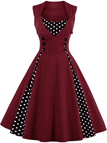 - Jiuzhoudeal Women's 1950s Vintage Sleeveless Retro Swing Party Classy Dress (XX-Large, Wine Red)