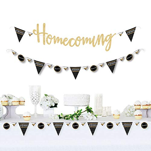 HOCO Dance - Homecoming Letter Banner Decoration - 36 Banner Cutouts and No-Mess Real Gold Glitter Homecoming Banner Letters by Big Dot of Happiness (Image #6)