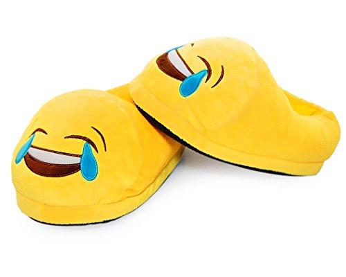 DSstyles Diversión Caliente Lindo EMOJI Cara Zapatos de Invierno Unisex Adulto Zapatillas tears of joy