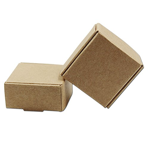 1.45x1.45x0.78 inch (3.7x3.7x2cm) 20 Pcs Mini Brown Aircraft Cardboard Pack Square Gift Wrapping Kraft Paper Soap Box Craftwork Gift Fastener Ear Rings Small Jewellery Favor Treat Boxes