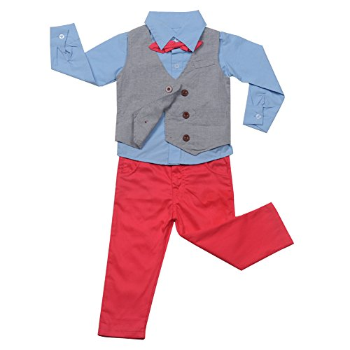 FAVOLOOK Boys Waistcoat, Kids Suits & Gentleman Sets with Vest + Bowknot Shirt + Pants for Daily Wear Special Occasion by FAVOLOOK (Image #1)
