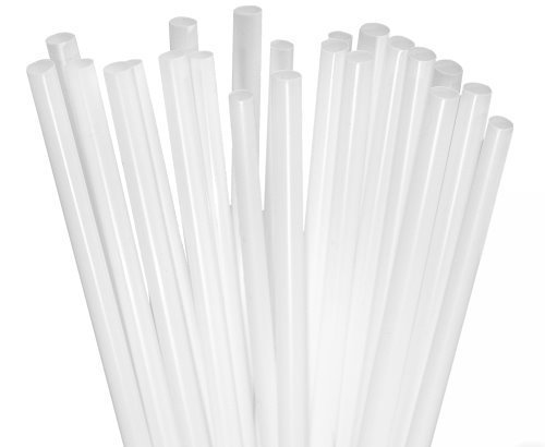 BAR-TY TIME! (250 Count) 7.75 Inch BPA-Free Plastic Drinking Straws (WHITE) -